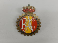 Very Nice Espana Spain RAC Real Automotivil Club De Espana Brass and Paint Car Badge Auto Emblem