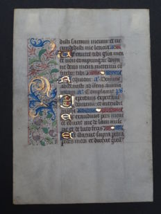 Manuscript; Leaf from a book of hours - illuminated with pink and purple flowers - Psalm 30 and 40 - Paris - 1480