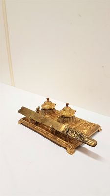 Antique Brass inkstand, Neo Renaissance with letter opener circa 1900.