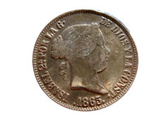Spain - Isabel II (1833 - 1868) 50 Cents of a peso of 1865 Manila