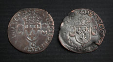 France - Henri II (1547-1559) - lot of 2 Douzain aux Croissants 1551