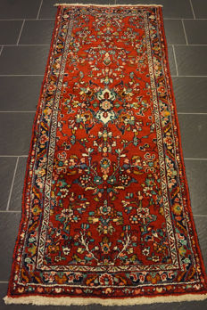 Unique Persian carpet Sarouk runner, best wool, made in Iran, 80 x 200cm, mint condition
