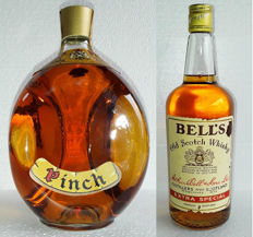 1970 Haigh Dimple (sold in USA with name Pinch) , Late 1970s, big 94.7cl bottle + 1977 Bell's Extra Special Old Scotch Whisky, big bottle  94.7cl
