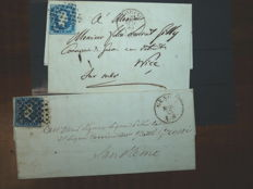 Sardinia 1851 - Two letters franked with the 20 cents stamps, one from Genova to San Remo and the other from Torino to Nizza Marittima - Sass.  No. 2