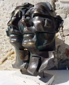 "Andres Gomez - ""Facial"" - Bronze Sculpture on Resin - Stamped by the artist (4 kg / 39 cm)"