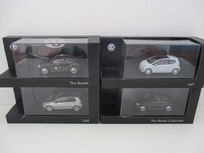 Schuco - Scale 1/43 - Lot with 4 models: Volkswagen Up, Golf, Beetle and Beetle Cabrio