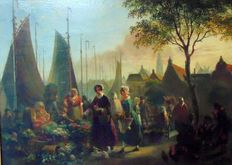"Dutch School 19th century - possibly from the circle of Joseph Bles (1825-1875) - ""Markt op kade"""