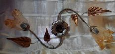 Ceiling/wall sconce in wrought iron - hand decorated with Murano bells