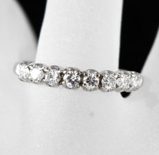 18k White gold, half eternity engagement ring – Total 0.80ct top Wesselton Diamonds, size 7.75(US)