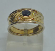 K14 yellow gold ring with synthetic stones - size: 54,5