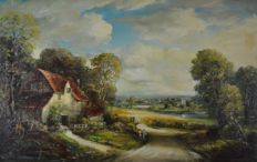 B W Leader (19th/20th century) - A countryside landscape with cottage.