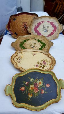 Five painted wooden trays - Italy - mid 20th century