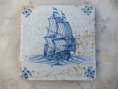 Antique tile with VOC ship