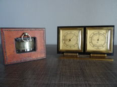 Lot of barometer-thermometer and 1 handmade thermometer