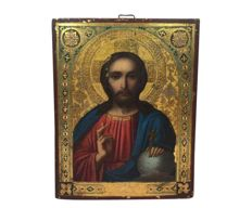 Russian icon Christ Pantocrator - Russia - Late 19th / early 20th century