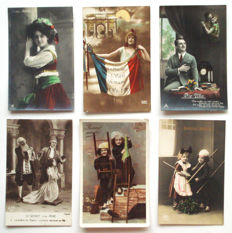216 x fantasy-Romance-couples, children, women, men-many cards hand-coloured