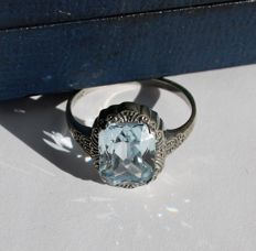 Antique Sterling Silver ring circa 1910/1920 with light blue in Aquamarine color Spinel in very fine handcrafted frame.
