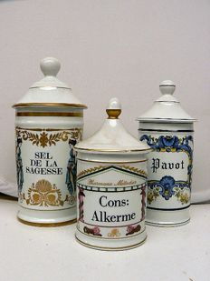 Limoges-Three finely decorated (pharmacists) pots with lid