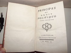 [Jean-Jacques Burlamaqui] - Principes du droit politique - 2 volumes in 1 book - 1751