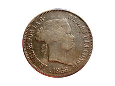 Spain - Isabel II (1833–1868), 50 peso cents 1868 Manila