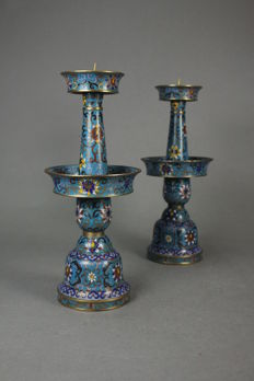 A pair Candlestick made of copper and enamel - China - first half 20th century (Republic period 1912-1949)
