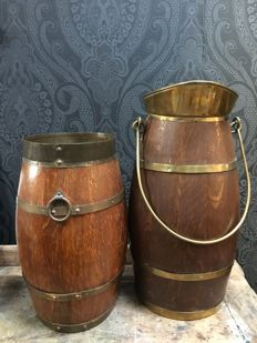 Two barrels with brass bands, early 20th century, Netherlands