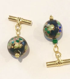 Vintage gilt cloisonné enamel Bead and Faceted  Emerald  men's cuff links, ca. 1970
