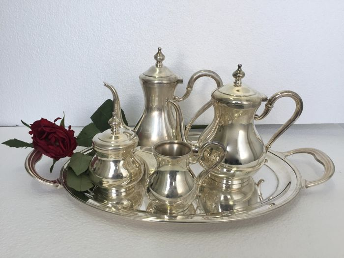 Tea and coffee set, 4 pieces plus tray, Calegaro, Padova - modern era