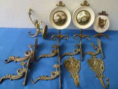 Clothing/coat rack hooks - various countries, age, materials i.a. enamel/brass/copper
