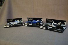 Minichamps - Scale 1/43 - Lot of 3 models: Prost Mugen Honda, Steward Ford & Tyrrell Ford