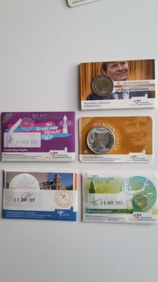 The Netherlands – 2 to 10 euro in Coin card 2011/2013 'including 3x 1st day Issues' (5 pieces in total)