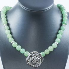 Necklace of Nephrite with Rose centre and 925 Sterling silver clasp