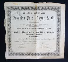 France / Germany  - Produits Fred. Bayer & Co. - Action 1000 Francs - Flers au Breucq 1898