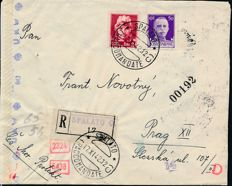 Italian Occupation 1941/1944 - Lot of 2 letter and two set on philatelic registered envelope and fragment with cancellations