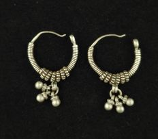 Handmade silver earrings - India, mid-20th Century