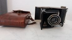 Agfa Billy record folding camera approx. 1930 with original leather bag