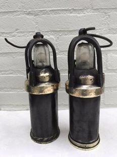 Two authentic miner's lamps, first half of the 20th century, Europe