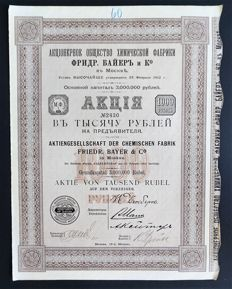 Russia  - Aktiengesellschaft der Chemischen Fabrik Friedr. Bayer & Co. - share for 1000 roubles - Moscow 1912
