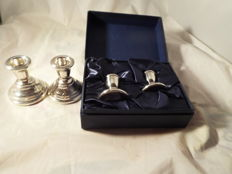 Two Vintage, Silver, Dwarf Candlesticks Birmingham 1969 Fair Condition Pair of Small Silver Candlesticks