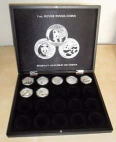 China - 10 yuan 2010/2016 Panda set and case - 7 pcs - 1 Oz silver