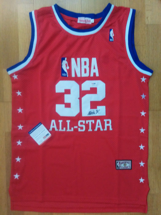 Earvin Magic Johnson - signed  All-Star team Jersey + COA  - PSA/DNA