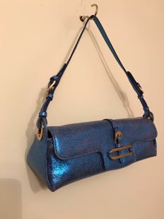 Jimmy Choo - Blue metallic leather cosmos evening bag