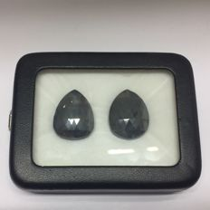 Matching Pair of Treated Black Diamond 61.08 ct. Pear shape Flat one side Diamond, AIG Certified
