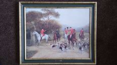 Painting of Fox Hunt on Horseback with Dogs - oil on canvas