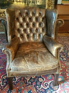 Leather armchair in chesterfield style, mid 20th century