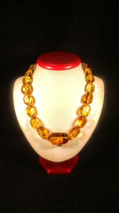 Vintage ca. 1960's 100% Natural Baltic Amber necklace, , length 48 cm, 69 grams