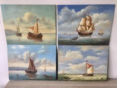 Four painted panels with sailing boats - the Netherlands-20th century