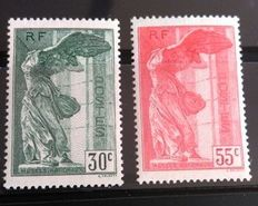 France 1937 - Victoire de Samothrace - Yvert No. 354 and 355