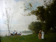 Gerard Leclerc ( 19th century) - Landscape with ladies  and little dog , watching hunter in a boat