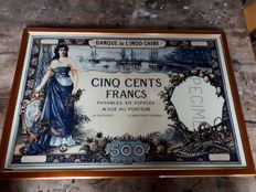 Miscellaneous - Banque de L'indo-chine - large image of 500 francs 1938 on parchment in luxury walnut frame